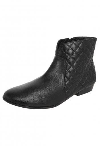 b64c2d8807 Bota Feminina Usaflex Ankle Boot Couro Legítimo Preta S5908 S5908 ...