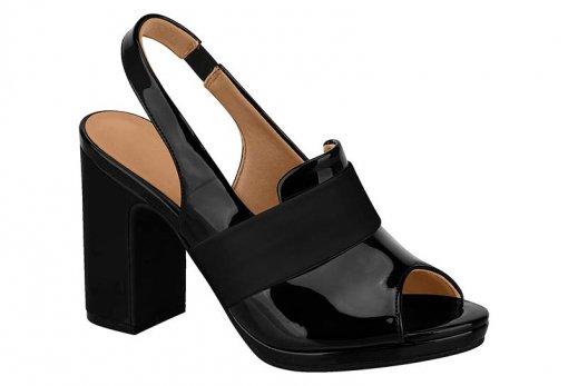 2c9307b2f7 Sapato Scarpin Feminino Vizzano Chanel PeepToe Preto 6406103 6406103 ...