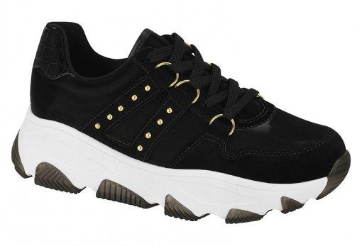 Tênis Feminino Sneaker Nobuck Argola Preto Vizzano 1343101