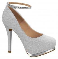 Imagem - Sapato Scarpin Feminino Vizzano Metal Glitter Prata 1157317 - 31000405