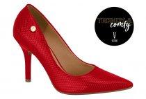 Imagem - Sapato Scarpin Feminino Vizzano Textura Vermelho 11841101 - 31001272