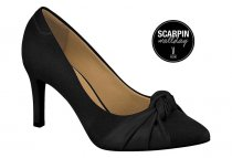 Imagem - Sapato Scarpin Laço Camurça Preto Vizzano Bico Fino 1321102 - 31000573