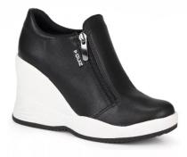 Imagem - Tênis Feminino Sneaker Plataforma Quiz Preto Zíper 67-19903 - 331000561