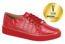 Imagem - Tênis Feminino Vizzano Textura Croco Vermelho 1214130 - 31000388