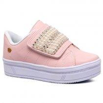Imagem - Tênis Infantil Feminino Pink Cats Flatform Napa Rosa V0422  - 331000761