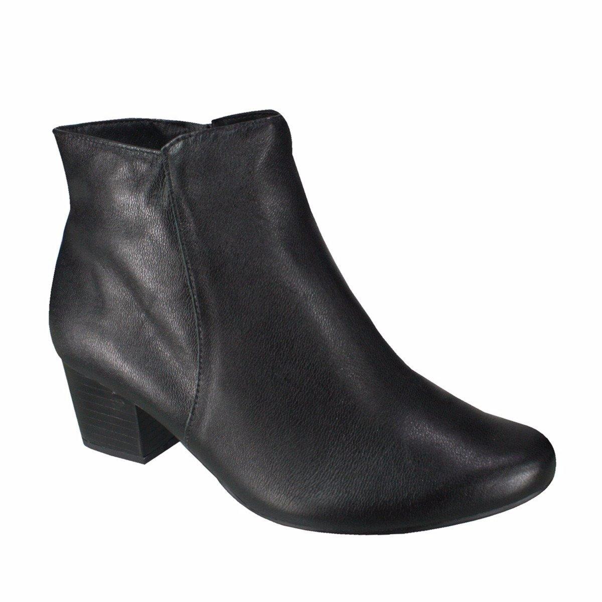 ca12df21c Bota Feminina Usaflex Ankle Boot Couro Legítimo Preta Q6621 Q6621 ...