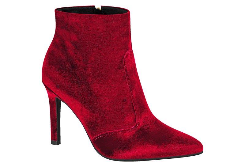 04739c83034 Bota Feminina Vizzano Ankle Boot Bico Fino Veludo Vermelho 3049113 ...