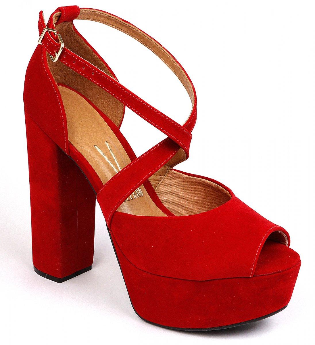 7c620ea2f0 Sandália Feminina Vizzano Salto Alto Tiras Vermelha 6282136 6282136 ...