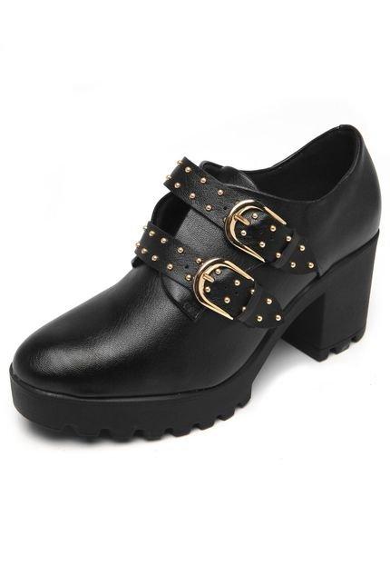 966818af0d Sapato Feminino Ankle Boot Preto Fivelas Vizzano 1294102 1294102 ...