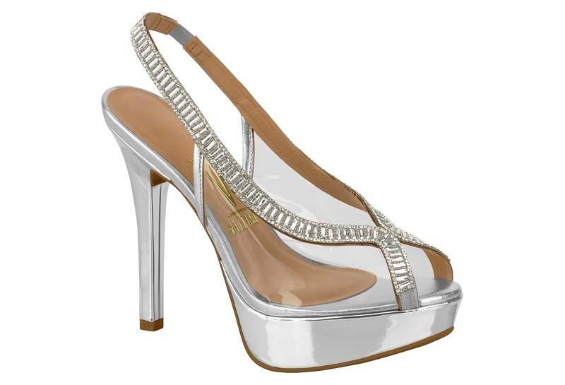 8a28213edd Sapato Feminino Peep Toe Vizzano Metal Prata Strass 1830419 1830419 ...