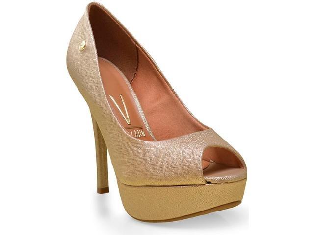 9862499be Sapato Peep Toe Feminino Vizzano Napa Metal Ouro 1830100 1830100 ...