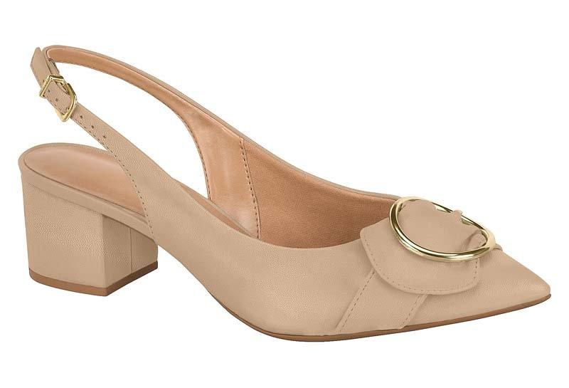 9ef1983f91 Sapato Scarpin Feminino Chanel Vizzano Argola Bege 1220120 1220120 ...