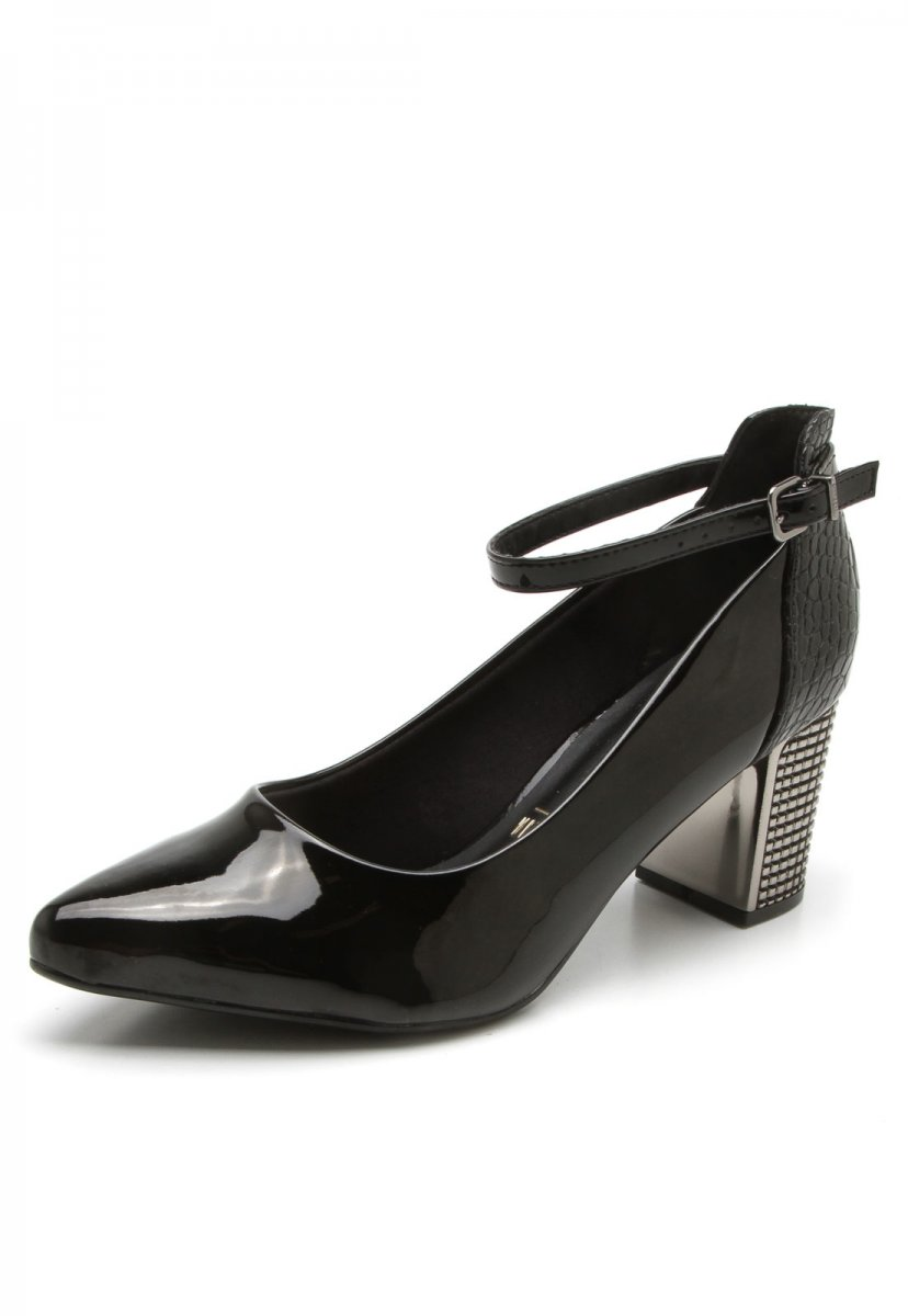 57ba6039e1 Sapato Scarpin Feminino Salto Grosso Verniz Preto 1290102 1290102 ...