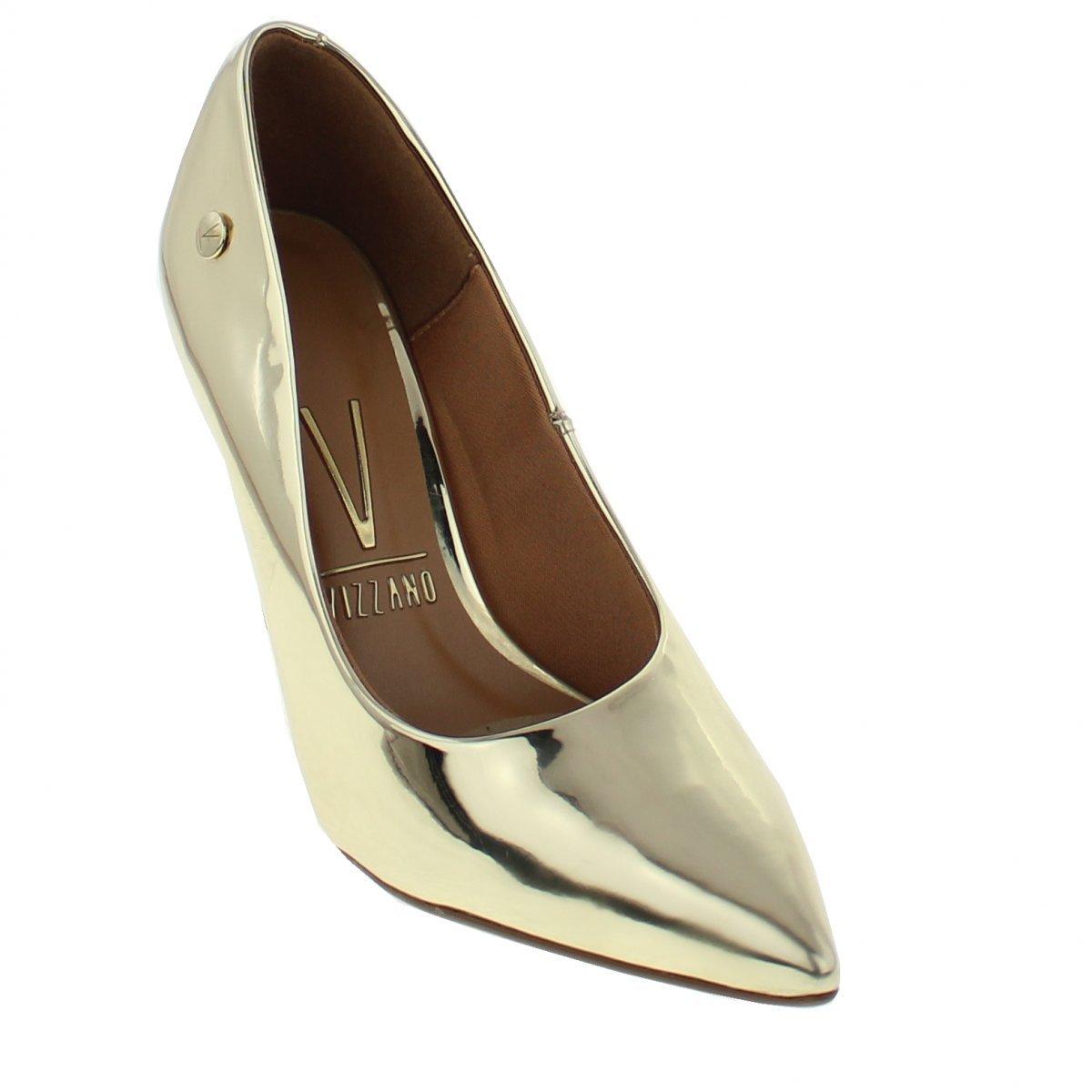 326e73711 Sapato Scarpin Feminino Vizzano Metalizado Dourado 1230300 1230300 ...