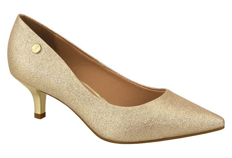 de2ddd6319e Sapato Scarpin Feminino Vizzano Salto Baixo Dourado 1122628 1122628 ...