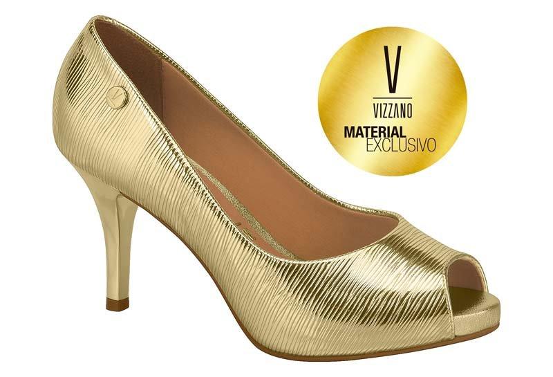 51b891a6e Sapato Scarpin Peep Toe Feminino Vizzano Dourado 1781607 1781607 ...