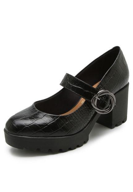727a1033d Sapato Tratorado Oxford Feminino Vizzano 1294103 Croco Preto 1294103 ...