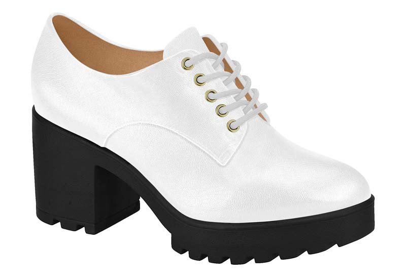 3fcc03045 Sapato Tratorado Oxford Feminino Vizzano Napa Branco 1294100 1294100 ...