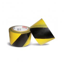 Imagem - Fita Para Demarcação de Área Zebrada Preta e Amarela 70mmx200m Ref 870 - Adere cód: 113775