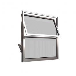 Imagem - Janela Basculante de Alumínio Natural Vidro Canelado 2 Folhas 40x40 - Quality cód: 12301