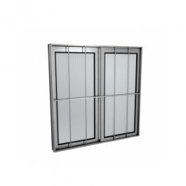 Imagem - Janela de Correr de Alumínio 2 Folhas Com Grade Vidro Canelado 1,00x1,00 - Quality cód: 122021