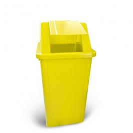 Imagem - Lixeira Quadrada Com Tampa Basculante Com Adesivo Amarelo 60l - Bralimpia cód: 124127