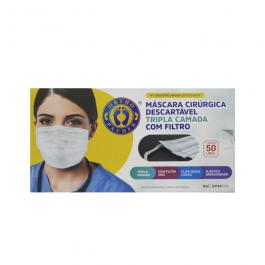 Imagem - Máscara Cirúrgica Descartável Tripla Camada Com Filtro Contém 50 Unidades Ref Op44c19 Branca - Ortho Pauher cód: 132890