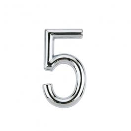 Imagem - Número 5 em Abs 39mm Cromado Ref 8856 - Bemfixa cód: 119854