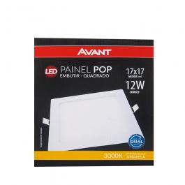 Imagem - Painel Pop Led Embutir Quadrado 17x17 12w Bivolt Amarela 3000k - Avant cód: 128172