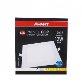Imagem - Painel Pop Led Embutir Quadrado 17x17 12w Bivolt Branca 6500k - Avant cód: 126616