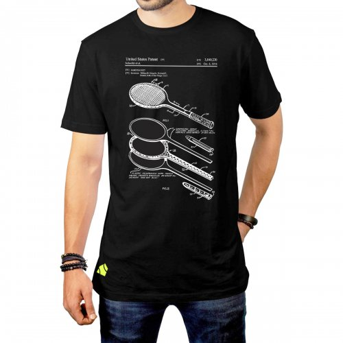 Camiseta Raquete Blueprint Preta - Casa Do Tenista