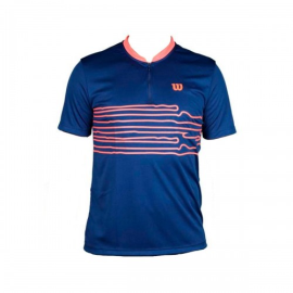 Imagem - Camiseta 1/2 Zip Performance Marinho e Neon - Wilson