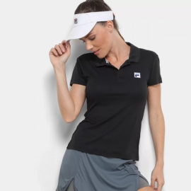 Imagem - Camiseta Polo Feminina Fusion Preta - Fila