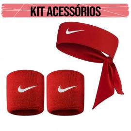 Imagem - Kit Acessórios Munhequeira Dri-fit e Bandana Vermelha - Nike
