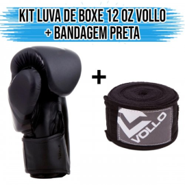Imagem - Kit Luva de Boxe 12 OZ + Bandagem preta - Vollo