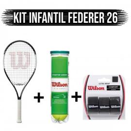 Imagem - Kit Raquete de Tênis Infantil Federer 26 + Overgrip Ultra Wrap + Bola Verde