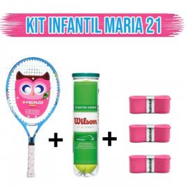 Imagem - Kit Raquete de Tênis Infantil Maria 21 + 3X My Overgrip + Bola Verde - Head e Babolat