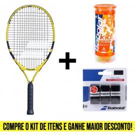 Imagem - Kit Raquete de Tênis Infantil Nadal JR 23 Mais Tubo de Bola Laranja e Overgrip Pro Tour Preto - Babolat