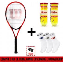 Imagem - Kit Raquete de Tênis Federer 110 + 02 tubos de bola + 01 Pack Meias + 01 Overgrip - Wilson