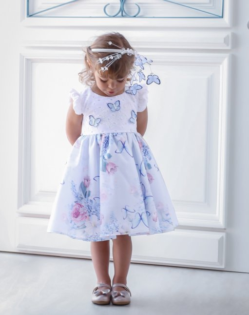 Vestido Infantil Cattai Borboletas 3D Azul