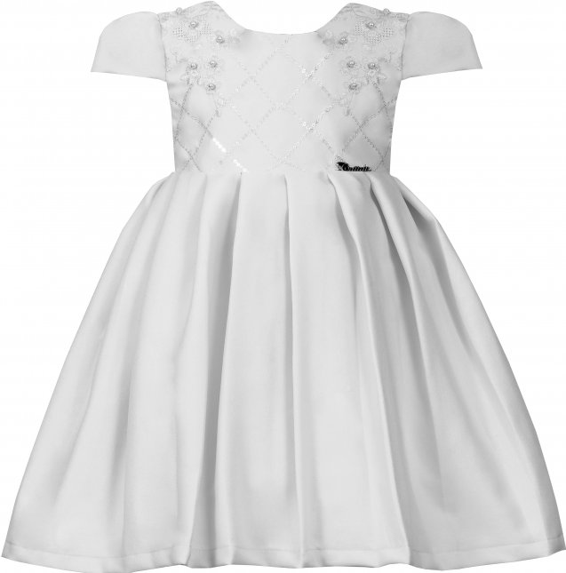 Vestido Infantil Cattai Branco com Pregas
