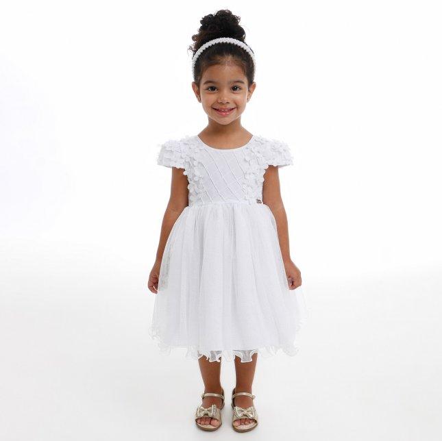 Vestido Infantil Cattai Flores 3D e Saia de Brilho