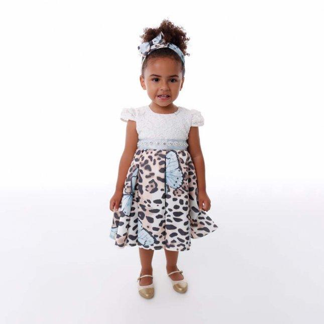 Vestido Infantil Cattai Onça e Borboletas