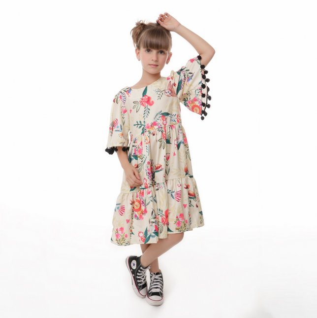 Vestido Juvenil Cattai com Pom Pom