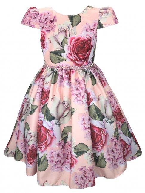 Vestido Juvenil Cattai Floral e Cinto de Pérolas
