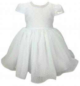 Imagem - Vestido Bebê Cattai Branco e Colar de Pérolas