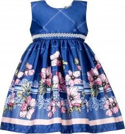 Imagem - Vestido Infantil Cattai Azul com Barrado de Flores