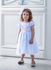 Imagem - Vestido Infantil Cattai Azul e Rosa com Borboletas