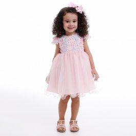 Imagem - Vestido Infantil Cattai com Flores e Borboletas Coloridas 3D