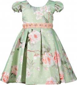 Imagem - Vestido Infantil Cattai Floral e Flores na Cintura